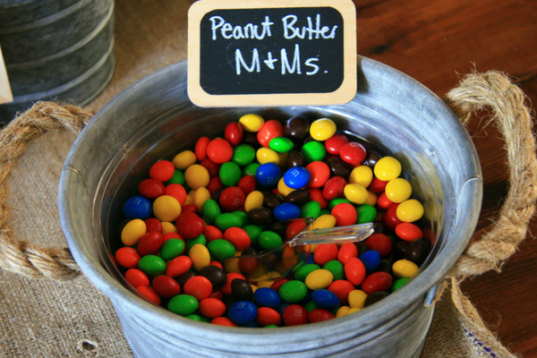 Peanut Butter M&Ms for the Trail Mix Snack Bar at my son's Outdoor Adventure Birthday Party. Check out the details at LeavenworthAdventures.com