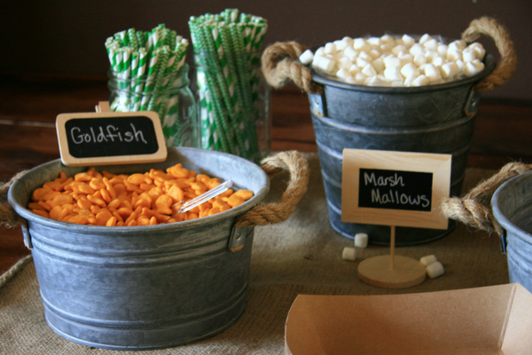 Trail Mix Snack Bar with Goldfish Crackers and Marshmallows at my son's Outdoor Adventure Birthday Party. Check it out at LeavenworthAdventures.com