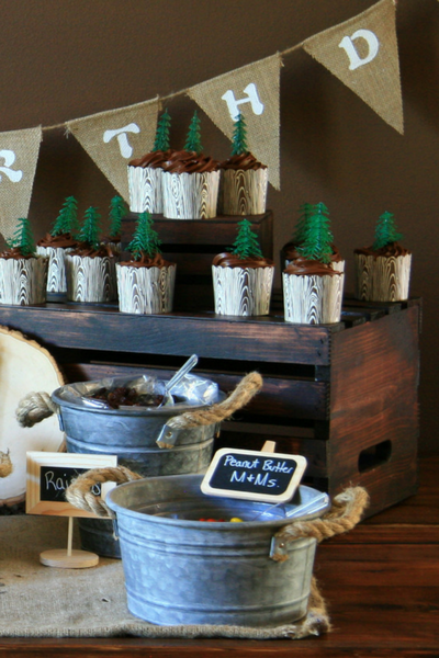 Tree Cupcakes on DIY Wood Cupcake Stand at Outdoor Adventure Birthday Party on LeavenworthAdventures.com