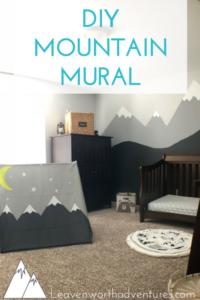 "Boy's Outdoor Adventure Bedroom with text overlay ""DIY Mountain Mural"""